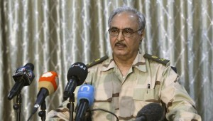 General Khalifa Haftar speaks during a news conference in Abyar
