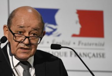 French Defence minister Jean-Yves Le Drian delivers a speech during his visit at the  Direction générale de larmement (DGA) on december 12, 2016 in Bruz, near Rennes.  / AFP / DAMIEN MEYER        (Photo credit should read DAMIEN MEYER/AFP/Getty Images)