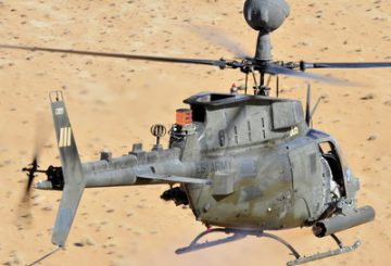 A Task Force Destiny, 101st Combat Aviation Brigade OH-58D Kiowa Warrior helicopter test fires over the Red Desert in southern Afghanistan Jan. 31.