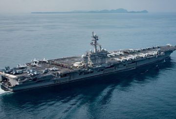 The U.S. aircraft carrier USS Carl Vinson transits the Sunda Strait, Indonesia on April 15, 2017. Picture taken on April 15, 2017. Sean M. Castellano/Courtesy U.S. Navy/Handout via REUTERS ATTENTION EDITORS - THIS IMAGE WAS PROVIDED BY A THIRD PARTY. EDITORIAL USE ONLY. - RTS12V4B