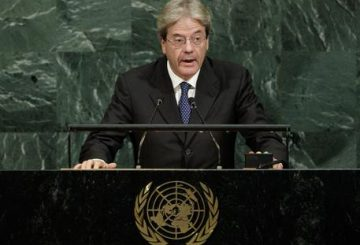 epa06216301 President Paolo Gentiloni of Italy speaks during the General Debate of the 72nd United Nations General Assembly at UN headquarters in New York, New York, USA, 20 September 2017. The annual gathering of world leaders formally opened on 19 September 2017, with the theme, ÔFocusing on People: Striving for Peace and a Decent Life for All on a Sustainable Planet.' EPA/JUSTIN LANE