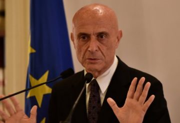 ROME, ITALY - FEBRUARY 01: Italian Interior Minister, Marco Minniti speaks during a press conference after signing an agreement with representatives of associations of Islamic Communities in Italy to strengthen the dialogue and cooperation against religious extremism, in Rome, Italy on February 01, 2017. (Photo by Alvaro Padilla/Anadolu Agency/Getty Images)