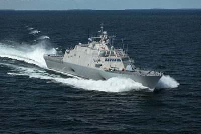 The future USS Little Rock (LCS 9), the fifth Freedom-variant LCS delivered to the U.S. Navy, underway during Acceptance Trials in Lake Michigan on August 25, 2017. (PRNewsfoto/Lockheed Martin)