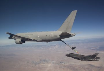 "An American JSF AF-4 from the 461 FLTS, Edwards AFB, CA, piloted by Maj. Charles ""FLAK"" Trickey performs the first contact and fuel transfer from a KC-767 foreign partner Italian Tanker."