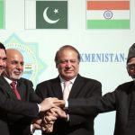 Leaders from Afghanistan, India and from left: Turkmen President Gurbanguly Berdymukhamedov shakes hands with the Afghanistan President Ashraf Ghani, Pakistani Prime Minister Mohammad Nawaz Sharif and Indian vice president Hamid Ansari during Sunday, Dec. 13, 2015 ceremony in Ashgabat, Turkmenistan. Pakistan have joined the president of Turkmenistan in breaking ground on a new pipeline intended to deliver natural gas from the energy-rich former Soviet republic to their three countries. The 1,800-kilometer (1,080-mile) TAPI pipeline is intended to carry gas through the Afghan cities of Herat and Kandahar and end up in the India-Pakistan border town of Fazilka. (AP Photo/ Alexander Vershinin)