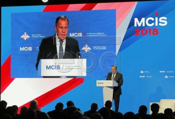 epaselect epa06646442 Russian Foreign Minister Sergei Lavrov delivers a speech during the 7th Moscow Conference on International Security (MCIS) in Moscow, Russia, 05 April 2018. During the conference, the Russian delegation will share their experience on combating elements of the so-called Islamic State (or IS or ISIL) and provide information on including post-conflict rehabilitation in the Middle East. The conference, organized by the Ministry of Defense of the Russian Federation, runs from 04 to 05 April 2018.  EPA-EFE/YURI KOCHETKOV