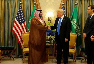 U.S. President Donald Trump meets with Saudi Arabia's Deputy Crown Prince and Minister of Defense Mohammed bin Salman (center L) at the Ritz Carlton Hotel in Riyadh, Saudi Arabia May 20, 2017. REUTERS/Jonathan Ernst - RTX36QQO