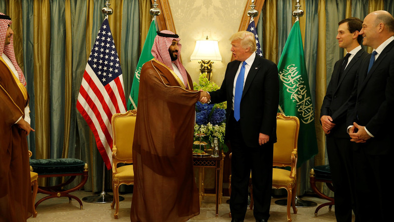 U.S. President Donald Trump meets with Saudi Arabia's Deputy Crown Prince and Minister of Defense Mohammed bin Salman (center L) at the Ritz Carlton Hotel in Riyadh, Saudi Arabia May 20, 2017. REUTERS/Jonathan Ernst - RTX36QQO