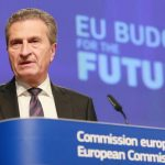 European Commissioner for Budget and Human Resources Guenther Oettinger speaks at a press conference at the European Commission in Brussels, Belgium, 02 May 2018. European Commissioner for Budget Gunther Oettinger unveiled his proposal for the EU's long-term budget - the Multiannual Financial Framework, post Brexit, which will run from 2021 to 2027.  ANSA/STEPHANIE LECOCQ