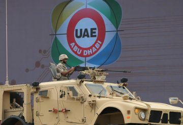 UAE armed forces demonstrate during a military show at the opening ceremony of the International Defence Exhibition and Conference, IDEX, in Abu Dhabi, United Arab Emirates, Sunday, Feb. 22, 2015. (AP Photo/Kamran Jebreili)