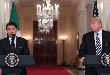 US President Donald Trump and Italian Prime Minister Giuseppe Conte hold a joint press conference in the East Room of the White House in Washington, DC, July 30, 2018. (Photo by SAUL LOEB / AFP) (Photo credit should read SAUL LOEB/AFP/Getty Images)