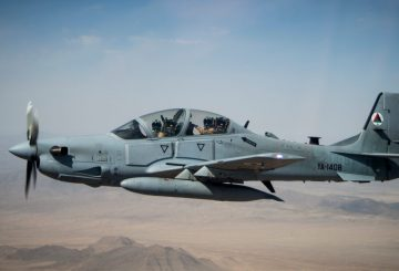 An Afghan Air Force A-29 Super Tucano soars over Kabul, Afghanistan, Aug. 14, 2015. The A-29 is the Afghan Air Force's latest attack airframe in their inventory.  (U.S. Air Force photo/Staff Sgt. Larry E. Reid Jr., Released)