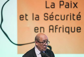French Defence Minister Jean-Yves Le Drian addresses the 3rd Dakar International Forum on Peace and Security in Africa in Dakar on December 5, 2016. Various heads of states and security specialists are attending the forum. / AFP / STRINGER (Photo credit should read STRINGER/AFP/Getty Images)