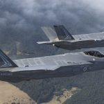 Australias first F-35A Lightning II aircraft 01 and 02 in transit to the Australian International Airshow in Avalon.