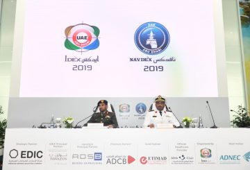 General Mohammed Al Hassani- Official Spokesperson of IDEX 2019-and Naval Staff Colonel Fahad Nasser Saif Al Thehli -Official Spokesperson of NAV (002)