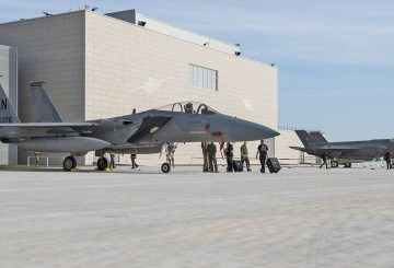 An F-15C Eagle assigned to the 493rd Fighter Squadron, and an Italian F-35A Lightning assigned to the 32nd Stormo, are put on display for a media event during the NATO Tactical Leadership Programme 18-4 at Amendola Air Base, Italy, Nov. 30, 2018. This event marks the first time the course has been held in Italy, from its normal host location at Albacete Air Base, Spain. (U.S. Air Force photo/ Senior Airman Malcolm Mayfield)