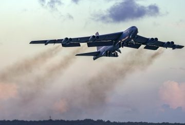 A B-52H Stratofortress bomber assigned to the 20th Expeditionary Bomb Squadron, deployed from Barksdale Air Force Base, La., takes off from Andersen AFB, Guam, in support of a routine Continuous Bomber Presence (CBP) mission over south-east Queensland, Australia, June 19, 2018. (U.S. Air Force photo by Master Sgt. Richard P. Ebensberger)