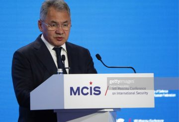 MOSCOW, RUSSIA - APRIL 24, 2019: Russia's Defense Minister Sergei Shoigu speaks during the 8th Moscow Conference on International Security (MCIS-2019). Sergei Karpukhin/TASS (Photo by Sergei KarpukhinTASS via Getty Images)