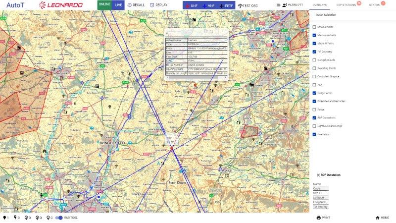 NATS mapping software in action - The red line shows the bearing to a nearby air station (002)