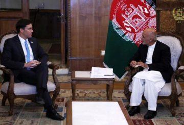 FILE PHOTO: Afghanistan's President Ashraf Ghani meets with U.S. Defense Secretary Mark Esper in Kabul, Afghanistan, October 20, 2019. Picture taken October 20, 2019. Afghan Presidential Palace/Handout via REUTERS/File Photo
