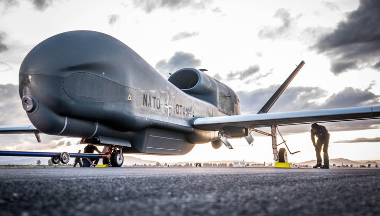 21 November 2019, Naval Air Station Sigonella, Italy - NATO's first RQ-4D has arrived in Europe.