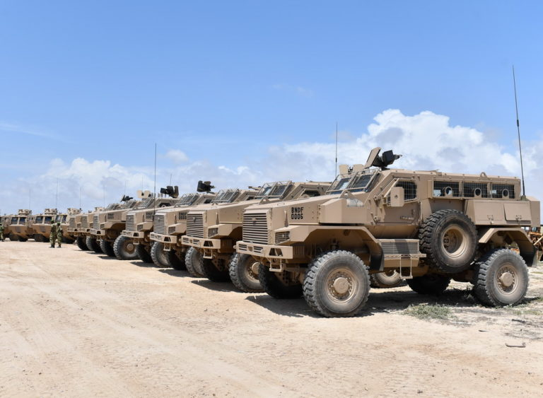 Armoured Personnel Carrier (APC) sent by the Government of Burundi to its contingent in Somalia which is part of the African Union Mission in Somalia (AMISOM) displayed in Mogadishu, on 5 November 2019. AMISOM Photo / Omar Abdisalan