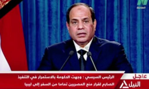 "An image grab taken from Egypt's state-run Nile TV shows Egyptian President Abdel Fattah al-Sisi addressing the nation late on February 15, 2015, threatening a ""suitable response"" to the killings of 21 Coptic Christians who had travelled to Libya seeking work and then were kidnapped and beaheaded by jihadists. Egypt carried out air strikes against Islamic State group targets in Libya on February 16 after the jihadists posted a video showing the decapitation of the 21 Egyptian Coptic Christians. AFP PHOTO/NILE TV ==RESTRICTED TO EDITORIAL USE - MANDATORY CREDIT ""AFP PHOTO / NILE TV"" - NO MARKETING NO ADVERTISING CAMPAIGNS - DISTRIBUTED AS A SERVICE TO CLIENTS =="