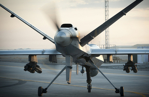 Date: Image Shows: A Royal Air Force Reaper RPAS (Remotely Piloted Air System) at Kandahar Airfield in Afghanistan. 904 Expeditionary Air Wing (904 EAW) is responsible for the support and operation of RAF assets at Kandahar Airfield, Afghanistan. As well as delivering hundreds of RAF air mobility movements every year with Hercules C-130J and BAE 146 aircraft, the EAW mounts attack and intelligence missions through its detachments of RAF Tornado GR4 fast jets. The EAW also provides support for a detachment providing launch and recovery of RAF and Reaper remotely piloted air systems. The Reaper Detachment operates the RAF's highly capable remotely piloted air systems to supplement other air intelligence platforms with detailed imagery of ground conditions. Reaper's primary role is to provide intelligence, surveillance and reconnaissance, and this forms the vast majority of its missions. However, when necessary the aircraft can also deploy precision-guided weapons to support Afghan-led ground forces in contact with the enemy. All Reaper missions are controlled by experienced RAF pilots, whose immediate face-to-face support from intelligence personnel and other operational specialists makes them among the most situationally aware pilots in the world. The Detachment is also supported by aerospace battle managers and other operational specialists based with 83 Expeditionary Air Group. UK Forces are deployed to Afghanistan and the Broader Middle East in support of the UN-authorised, NATO-led International Security Assistance Force (ISAF) mission, and as a part of the US-led Operation Enduring Freedom (OEF). Please contact Media Operations on 83eagso3mediaops@gmail.com, for further information. MoD consent form (2012DIN05-006 Annex A) held by Media Ops, 83 EAG. AHB Cat: A