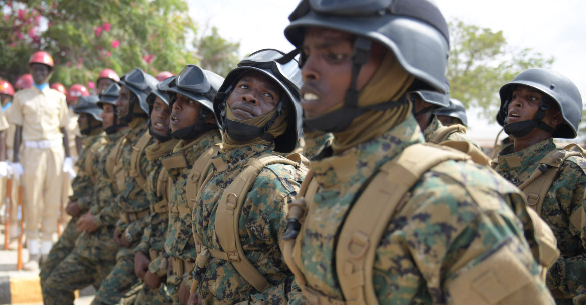 Somali National Army soldiers march during the 57th Anniversary of the Somali National Army held at the Ministry of defence in Mogadishu on April 12, 2017. AMISOM Photo / Ilyas Ahmed