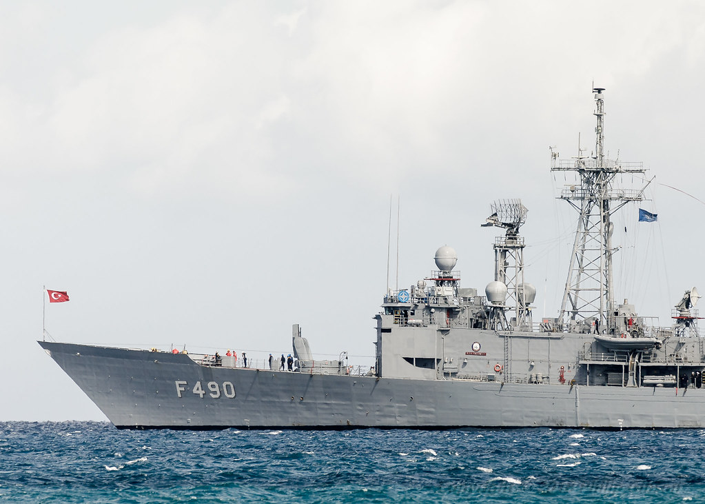 F-490 TCG Gaziantep, a G-class frigate of the Turkish Navy (1 of 8) Displacement: 4,100 long tons (4,166 t) full load Length: 135.6 m (444 ft 11 in) Beam: 13.7 m (44 ft 11 in) Draught: 6.7 m (22 ft 0 in) Propulsion: 2 × GE LM 2500 gas turbines, 41,000 hp (31 MW) 1 propeller and 2 × bow thrusters Speed: 30 knots (56 km/h; 35 mph) Range: 5,000 nmi (9,300 km) at 18 kn (33 km/h) Complement: 222 (19 officers, 203 men) Sensors and processing systems: Combat Management System: GENESIS (Gemi Entegre Sava? ?dare Sistemi)[1] Search radar: SMART-S Mk2[2] Armament: 1 × Mk 15 Phalanx CIWS 1 × Oto Melara 76mm DP gun 8 × Harpoon SSM 40 × SM-1 MR SAM 32 × ESSM launched from Mk-41 VLS[3] (4 ESSM missiles per MK-41 cell through the use of MK25 Quadpack canisters, total of 8 cells)[4] Two triple Mark 32 Anti-submarine warfare torpedo tubes with Mark 46 or Mark 50 anti-submarine warfare torpedoes Aircraft carried: 1 × S-70B Seahawk or AB-212 (ASW/ASuW/EW) More: https://en.wikipedia.org/wiki/G-class_frigate