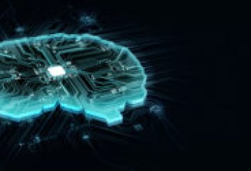 human brain on technology background represent artificial intelligence and cyber space concept