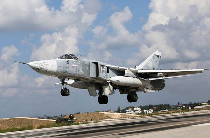 Su 24M jet taking off from the Hmeymim airbase TASS