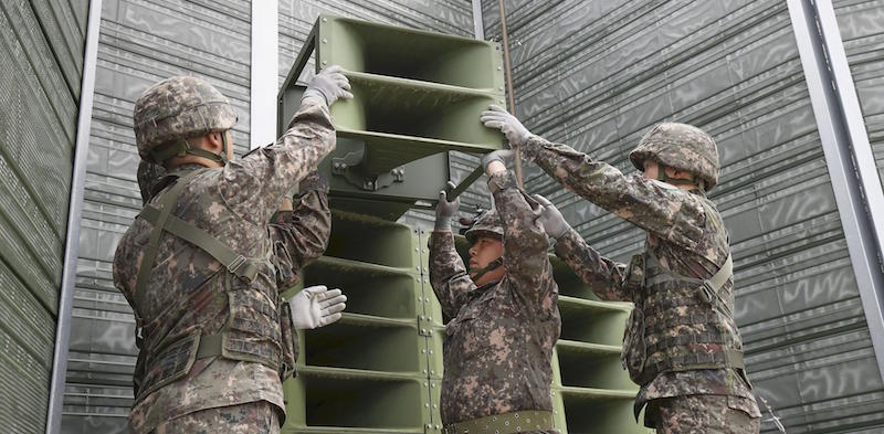 South Korean military personnel remove loudspeakers for propaganda broadcasting in Paju, South Korea, on May 1, 2018, in line with an agreement reached during an inter-Korean summit. (Kyodo) ==Kyodo