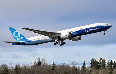 Boeing 777X WH001 during its first flight at Paine Field in Everett, Washington on January 25, 2020 - K66778-08