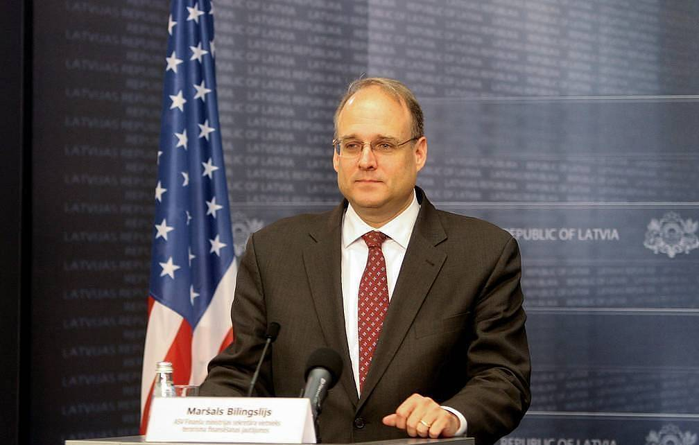 epa07574560 Marshall Billingslea, Assistant Secretary for Terrorist Financing in the United States Department of the Treasury, during a press briefing after meeting with the Latvian Prime Minister in Riga, Latvia, 16 May 2019. Billingslea had previously visited Latvia to watch over the bamking sector to be overhauled forllowing a string of money laundering and corruption scandals. EPA-EFE/Valda Kalnina