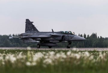 A Hungarian Air Force JAS 39 Gripen taxis after launching a training scramble in support of NATO's Baltic Air Policing mission. Baltic Air Policing is a peacetime activity that monitors the air over and surrounding Latvia, Lithuania and Estonia for unsafe air traffic. Flights that fail to respond to air traffic controllers are intercepted by air policing aircraft for visual identification.