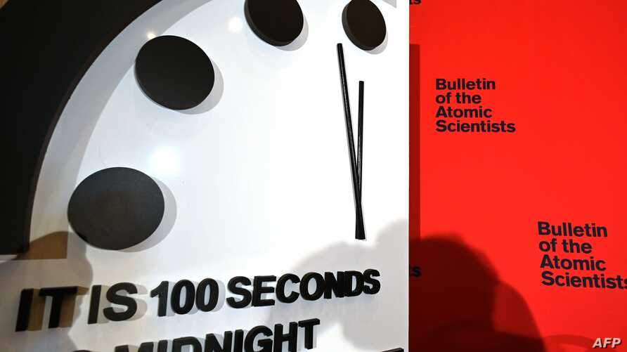 "The Doomsday Clock reads 100 seconds to midnight, a decision made by The Bulletin of Atomic Scientists, during an announcement at the National Press Club in Washington, DC on January 23, 2020. - President and CEO of the non-profit group Rachel Bronson said ""It is the closest to Doomsday we have ever been in the history of the Doomsday Clock."" The clock was created in 1947. (Photo by EVA HAMBACH / AFP)"