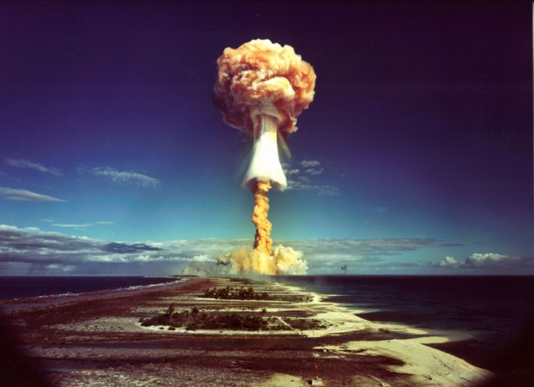 Picture Shows: French nuclear testing in the South Pacific. TX: BBC Two Sunday 19th June 2005. This is the story of liberty, equality and radio-activity. Focussing on ten specific tests - arranged in reverse chronology, as a countdown - this film will tell the strange history of the French atomic tests - how in the sixties De Gaulle dreamed of establishing Europe as a third superpower armed with a French atomic bomb, how thousands of Polynesian islanders were transformed from fishermen into nuclear technicians, how Greenpeace activists sailed a tiny yacht into the test zone to end atmospheric testing, how a tiny group of Tahitian radicals set up the world's only anti-nuclear terrorist cell, and how some former test workers from France and Tahiti now suffer from cancers that many believe are linked to fall-out from France's tests. Warning: Use of this copyright image is subject to Terms of Use of BBC Digital Picture Service. In particular, this image may only be used during the publicity period for the purpose of publicising 'Blowing Up Paradise' and provided BBC is credited. Any use of this image on the internet or for any other purpose whatsoever, including advertising or other commercial uses, requires the prior written approval of the BBC.