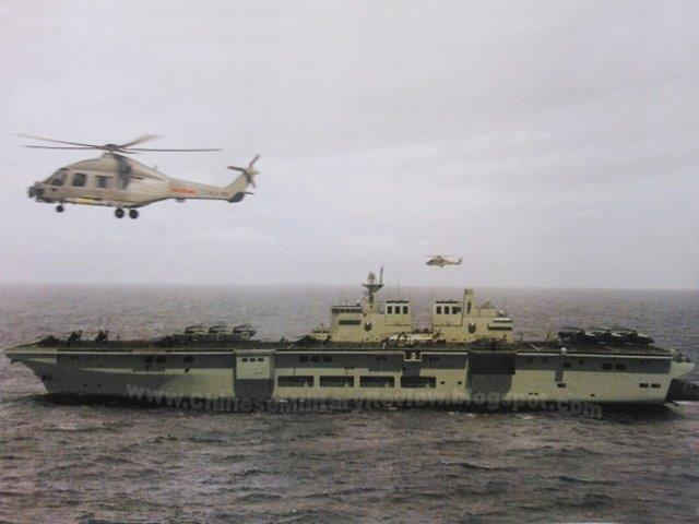 Landing Helicopter Dock (LHD) amphibious assault ships People's Liberation Army Navy (PLAN or PLA Navy) Z-15 WZ-10 Z8 Z-9 ka-27282931 aew vtolstol (2)