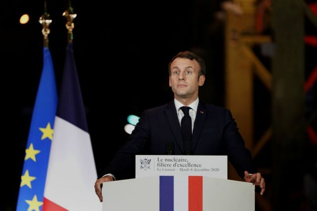 French President Emmanuel Macron, delivers his speech during a visit at Framatome nuclear reactor production site in Le Creusot, France, December 8, 2020. Laurent Cipriani/Pool via REUTERS