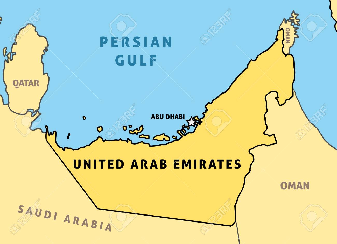United Arab Emirates (UAE) map. Outline vector country map.