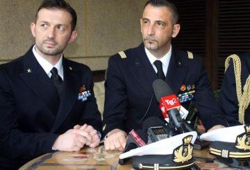 I fucilieri di Marina Massimiliano Latorre e Salvatore Girone  a New Delhi  6  febbraio 2014.  ANSA