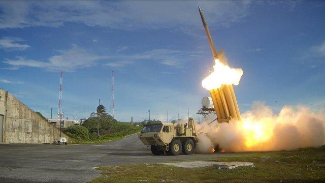 The_first_of_two_Terminal_High_Altitude_Area_Defense_(THAAD)_interceptors_is_launched_during_a_successful_intercept_test_-_US_Army